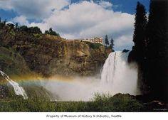 Rainbow in mist at Snoqualmie Falls, near Snoqualmie, 1985