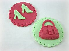12 Fashion Cupcake / Cookie Fondant Toppers, High Heels and Purse Toppers