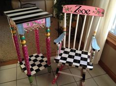 Custom Made Hand Painted Child S Rocking Chair Youth Personalized Vickie Mullins Alice In Wonderland Furniture