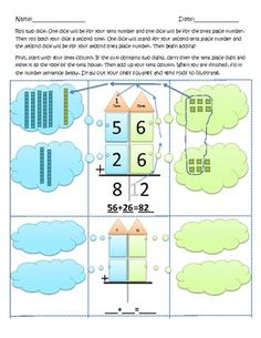 Two digit adding with regrouping worksheets Fourth Grade Math, First Grade Math, Grade 2, Second Grade, Bilingual Classroom, Math Classroom, Classroom Ideas, Teaching Math, Teaching Ideas