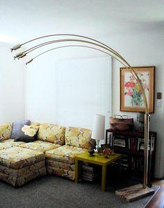 Brass Arc Lamp 3 Arm Lamp Gold Mid Century Pendant Lamp Orb Lamp