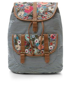 This striped rucksack is decorated with vintage floral embroidery, and designed with stylish leather-look trims. The front pockets offers a little extra storage, while adjustable shoulder straps create the perfect fit.