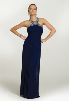 Long Dresses - Mesh Cleo Neck Long Dress from Camille La Vie and Group USA