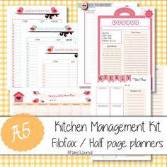 A5 sized Kitchen Management Kit for Filofax Half by MakeAJournal