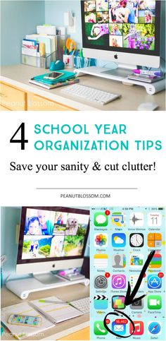 4 sanity saving tips for back to school organization for moms. Start the new year right with a clean desk and a plan in place to keep on top of all the reminders and notices that will coming pouring in from school in the coming months!