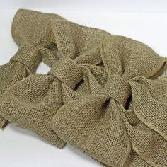 Set of 6 handmade burlap bows for your wreaths, your wedding decor or home decor. I use them throughout the year and decorate a tree with them