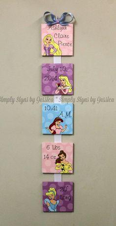 Disney Princess Custom Birth Announcement by SimplySignsByJess