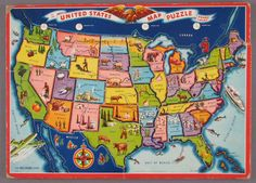 children's United States Map Puzzle - learned my states, state capitol this way. Mine looked a whole lot like this one with detail facts/pictures about state products on it.