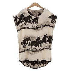 Horse Print Irregular Shape Short Sleeve Chiffon Top $15