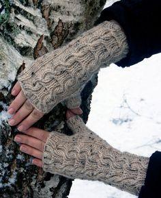 Love fingerless knit gloves for winter