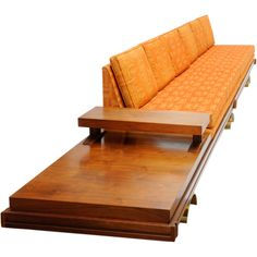 """Martin Borenstein 17"""" Sofa for Challenge Furniture  USA  1960's  Martin Borenstein for his company MB Designs from Challenge. Each piece rest on wonderful arching brass feet. The foam has been replace and retain it's original fabric called Pueblo/ Burnt Orange"""