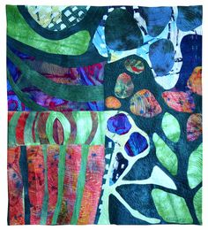 "'Wild I,' 51x45"", hand-dyed, discharged silks and cottons, fabric collage, machine quilted and embroidered by Kit Vincent"