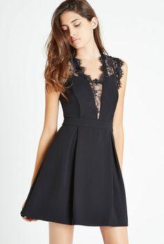 Lace-Trim Inverted Pleats Dress