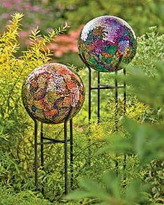 Close up image of 10 Gazing Balls Mirrored Mosaic Garden Globe