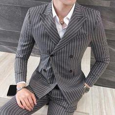 Wedding Dress Suit, Dress Suits, Men's Suits, Wedding Suits, Dresses, Blazer Vest, Suit Jacket, Gray Blazer, Double Breasted Pinstripe Suit