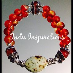 Carnelian, turquoise, sterling silver stretch stacking bracelet on Etsy, $70.00