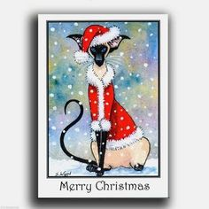 Siamese Cat Christmas cards pack of 6 from original painting by Suzanne Le Good