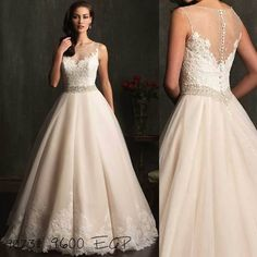 9073 is a gorgeous beaded wedding dress with an illusion neckline sparkling with Swarovski crystals and lovely lace.  Now available in all sizes.  Book your fitting appointment at  Tel: 01003 770670 #ValentinosBridal #WeddingDressesEgypt #WeddingDressesCairo