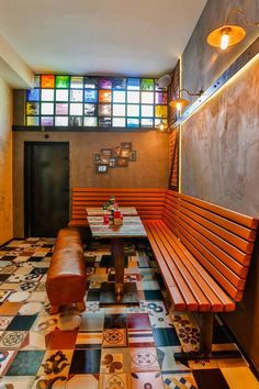 Coloured glass diy, italian restaurant, industrial design