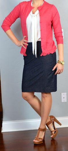 Outfit Posts: outfit post: coral cardigan, tie-neck blouse, denim pencil skirt