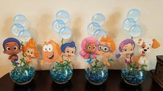 Diy birthday party centerpieces. Bubble guppies 1st birthday decorations.