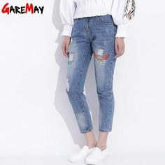 f71ebe121f3e0 Womens Ripped Jeans With Embroidery 2018 Ladies Distressed Jeans Casual  Cotton Broken Denim Pants Pantalones Vaqueros Mujer