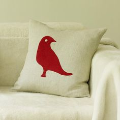 Dove Cushion 43cm x 43cm Red on Natural Linen  Hand Embroidered with Tapestry Wool onto 100% Linen  Available facing Left or Right ----- About the designer: Charlene Mullen From her training in both illustration, print and an established career in the fashion industry, she has successfully turned her talents to designing luxury homewares. Since the launch of the studio in September 2008 at 100% Design where she made the best newcomer list, she has won international acclaim having work shown…
