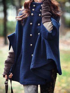 High Neck Double Breasted Pocket Plain Woolen Cape #Coat #naturephotography