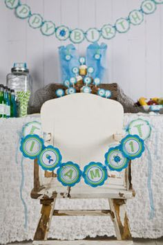 Under The Sea Themed I AM 1 Happy First Birthday MINI BANNER - Ocean Party Decorations in Aqua Blue and Green