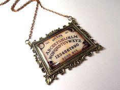 Vintage Ouija Board Necklace  Halloween Necklace  by LittleGemGirl, $24.00