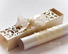 Mariage boîte invitations rouleau rouleau fichier de modèle de carte tourbillon coupe C116 (svg, dxf, ai, eps, png, pdf) au laser papier découpé motif camée Cricut