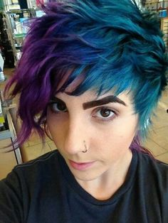 peacock color Purple Violet Red Cherry Pink Bright Hair Colour Color Coloured Colored Fire Style curls haircut lilac lavender short long mermaid blue green teal orange hippy boho ombré Pulp Riot