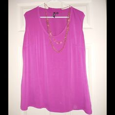 Women's Sleeveless Blouse With Necklace Fuchsia blouse with detachable beaded necklace.  Only worn once. Milano Tops Blouses