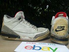 quality design f3ed3 2df25 1994 Nike Air Jordan III 3 Retro White Cement Grey Black Size 11.5 Rare VTG  OG