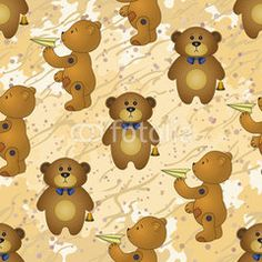 Seamless pattern, teddy bears with toys