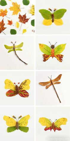 These autumn leaf butterflies and dragonflies are SO COOL and they're really easy to make! Go on a nature walk and see what fun leaves, flowers, pinecones, thistles, and sticks you can find. You can make all sorts of fun creatures from fall leaves! This Autumn nature craft is such a fun fall craft for kids! Fall Crafts For Kids, Toddler Crafts, Crafts To Do, Diy For Kids, Fall Leaves Crafts, Kids Nature Crafts, Leaf Crafts Kids, Nature For Kids, Campfire Crafts For Kids