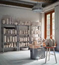 pottery studio, metal shelves, Bumling lamp | Tortus Copenhagen