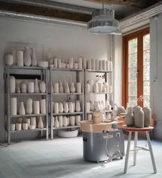 pottery studio, metal shelves, Bumling lamp | Tortus Copenhagen