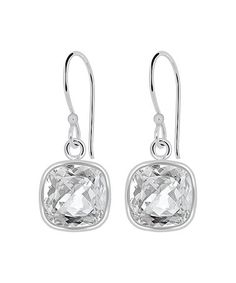 Look at this #zulilyfind! White Topaz & Sterling Silver Cushion-Cut Drop Earrings #zulilyfinds