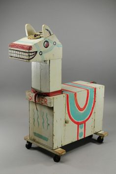 Silver, hand-constructed horse-shaped toy box on rolling wheels, United States… Antique Toys, Vintage Toys, Modern Toys, Wooden Horse, Carousel Horses, Recycled Art, Wood Toys, Horse Art, Toy Boxes