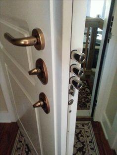 Steel Security Door, Garage to House, MDF panel. Steel Security Doors, Gun Rooms, Safe Room, Man Cave Garage, Front Doors, Cemetery, Dream Homes, Door Handles, Safety
