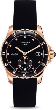 Certina Watch DS First Lady Ceramic Quartz #bezel-unidirectional #bracelet-strap-rubber #brand-certina #case-material-rose-gold #case-width-34-8mm #classic #date-yes #delivery-timescale-7-10-days #dial-colour-black #gender-ladies #movement-quartz-battery #official-stockist-for-certina-watches #packaging-certina-watch-packaging #style-dress #subcat-ds-first #supplier-model-no-c014-235-37-051-00 #warranty-certina-official-2-year-guarantee #water-resistant-100m