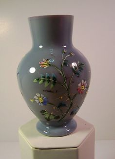 Bristol Glass Vase with Hand-painted Floral Decoration | 19th Century from renaissancefineantiquesofnewengland on Ruby Lane