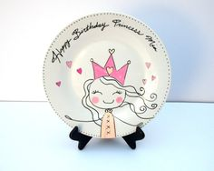 Hottest No Cost Ceramics plates art Tips Personalized princess birthday ceramic plate art decor pink hand drawn hand painted by PLA Painted Ceramic Plates, Painted Mugs, Hand Painted Ceramics, Ceramic Painting, Ceramic Pottery, Ceramic Art, Ceramic Decor, Sharpie Projects, Sharpie Art