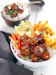 Smoked Tofu Bowls with Grilled Pineapple. Vegan, gluten free, and filled with real smoked BBQ flavors.