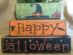 Items similar to Primitive Country Witch Hat Happy Halloween 3 pc Shelf Sitter Wood Block Set on Etsy 2x4 Crafts, Halloween Wood Crafts, Wood Block Crafts, Halloween Painting, Halloween Signs, Halloween Projects, Wood Blocks, Vintage Halloween, Fall Crafts