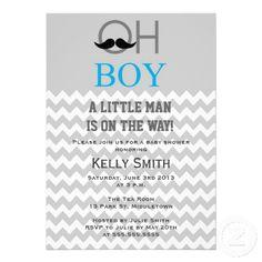 Modern Mustache Boy Baby Shower Invitations