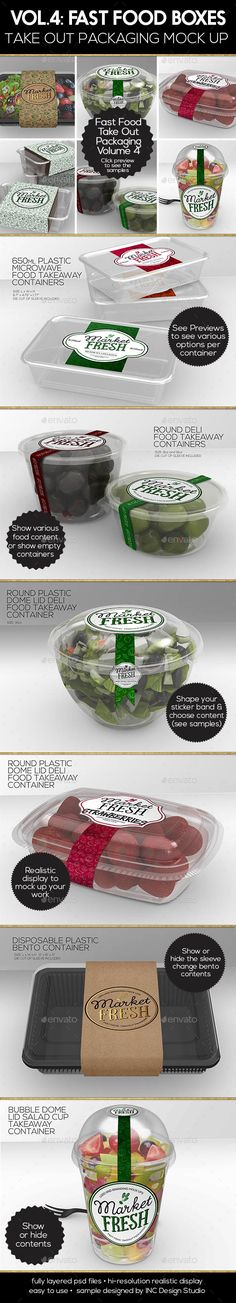 Fast Food Boxes Vol.4: Take Out Packaging Mock Ups — Photoshop PSD #one #mock-up • Available here → https://graphicriver.net/item/fast-food-boxes-vol4-take-out-packaging-mock-ups/17969199?ref=pxcr