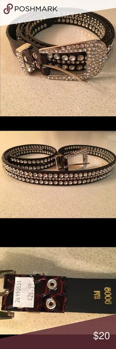 Rhinestone Belt Beautiful brown embossed belt with rhinestones.  No stones missing.  Brand new!  Never worn!  Size small.  Total belt length without buckle is 40 inches & 42 1/2 inches with buckle. Accessories Belts