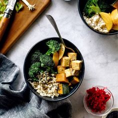 Macro Bowl with Tahini Miso Sauce and Crispy Tofu
